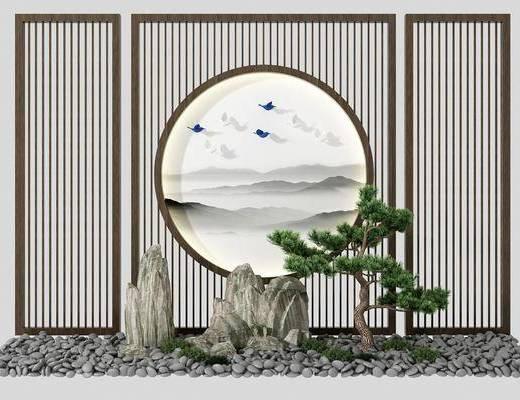 松树假山, 园艺小品, 树木, 绿植植物, 新中式