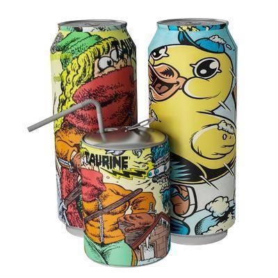 现代手绘易拉罐