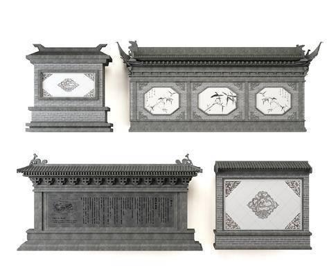 中式景墙, 影壁, 照壁, 园林装饰墙, 雕刻, 墙饰