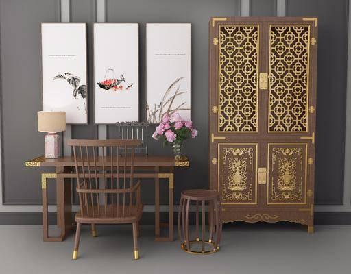 书柜, 书桌, 衣柜, 桌椅组合, 装饰画, 摆件组合