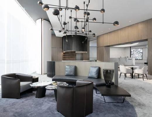 洽谈区, 售楼处, 沙发组合, 抱枕, 单椅