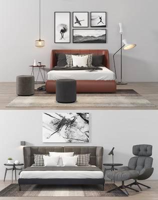 床具, 凳子, 落地灯, 台灯, 装饰画, 床头柜