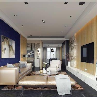 客厅, 多人沙发, 凳子, 单人沙发, 边柜, 电视柜, 装饰画, 摆件, 茶几, 挂画, 餐桌, 餐椅, 单人椅, 现代
