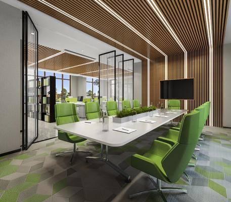 会议室, 会议桌, 单人椅, 办公椅, 办公桌, 盆栽, 绿植植物, 现代