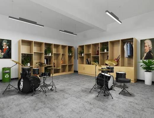 架子鼓, 手风琴, 吉他, 小提琴, 衣服, 垃圾桶
