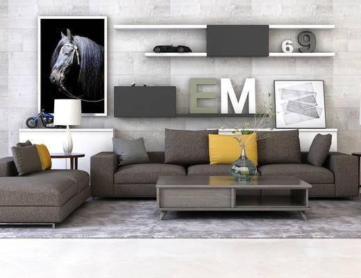 北欧, 沙发, 茶几, 柜架, 装饰柜, 置物柜, 摆件, 装饰画, 陈设品, 边几, 台灯, 案几