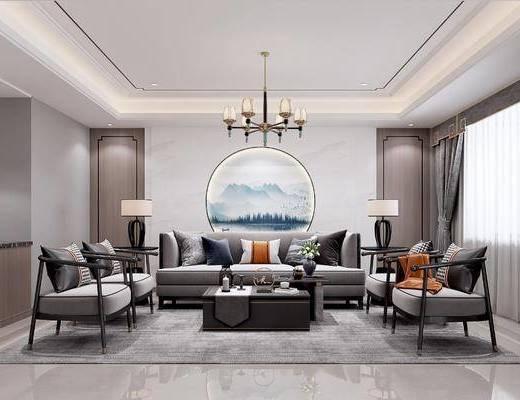 沙发组合, 抱枕, 墙饰, 吊灯, 单椅, 茶几, 落地灯