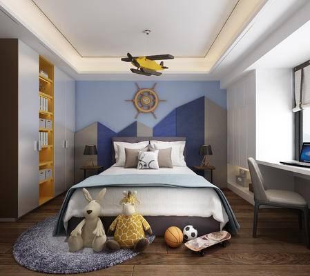 儿童房, 卧室, 男孩房, 床, 玩具, 玩偶, 椅子, 衣柜