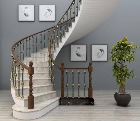 旋轉樓梯, 樓梯護攔, 弧形樓梯, 樓梯扶手, 閣樓樓梯, 盆栽, 裝飾畫, 掛畫, 歐式
