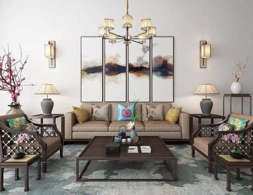 沙发组合, 摆件组合, 茶几, 吊灯, 单椅, 新中式沙发茶几摆件组合3d模型