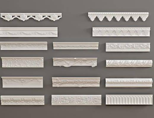 石膏雕刻, 雕花单花, 对角花, 石膏线条, 构件, 线条组合, 欧式
