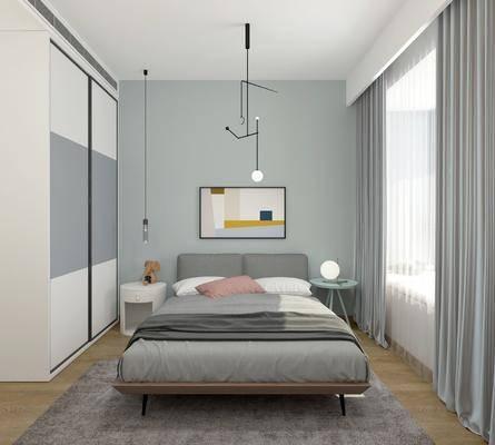 卧室, 北欧, 床具, 双人床, 圆几, 床头柜, 装饰灯, 吊灯, 挂画, 装饰画, 衣柜, 摆件