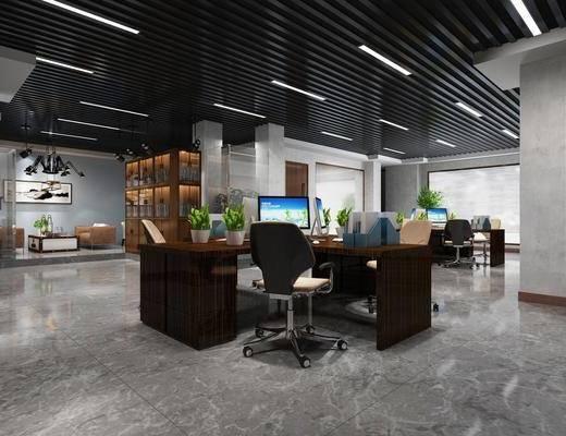 办公区, 办公室, 工业风办公室, 桌椅组合, 办公桌, 单椅, 文件夹, 摆件组合, 工业风