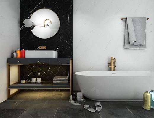 后现代, 浴室, 浴缸, 组合, 洗手台
