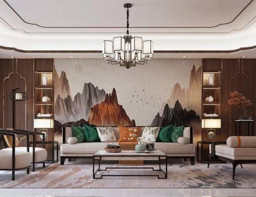 客厅, 沙发组合, 沙发茶几组合, 边柜组合, 摆件组合, 台灯吊灯组合, 新中式