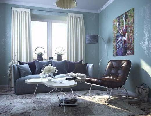 北欧沙发组合, 多人沙发, 沙发椅, 茶几, 落地灯, 挂画, 北欧