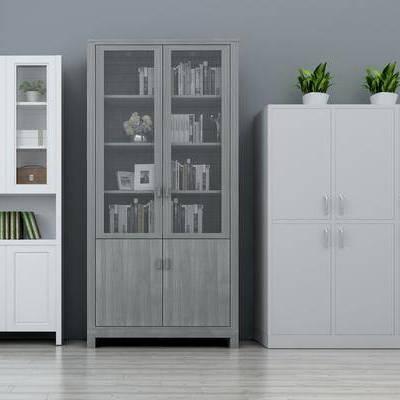 书柜, 资料柜, 书籍, 书本, 边柜, 置物柜, 植物, 摆件, 现代