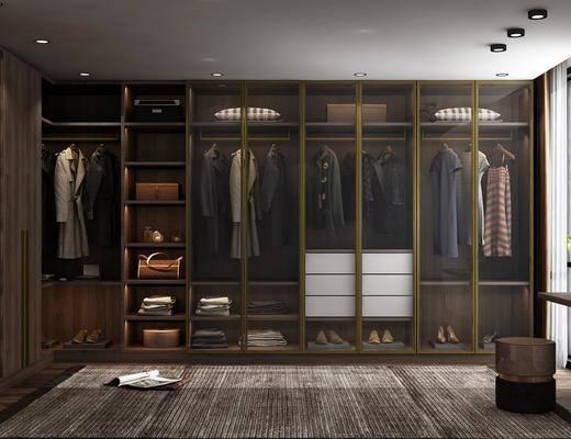 現代, 衣帽間, 衣柜, 沙發凳