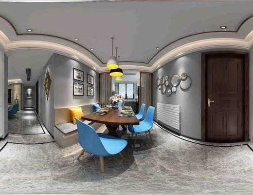 现代北欧餐厅全景, 餐桌椅组合, 吊灯, 墙面装饰, 门