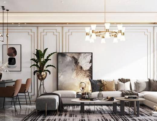 沙发组合, 吊灯, 茶几, 单椅, 餐桌, 装饰画, 摆件