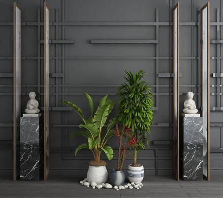 石柱石雕, 盆栽组合, 绿植植物, 新中式