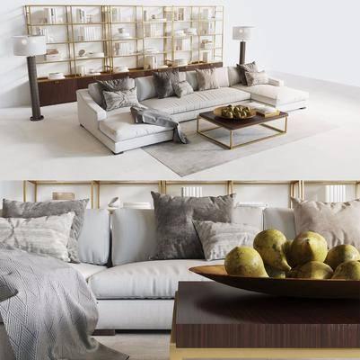 沙发组合, 沙发茶几组合, 多人沙发, 转角沙发, 现代, 茶几, 装饰柜, 置物柜, 落地灯