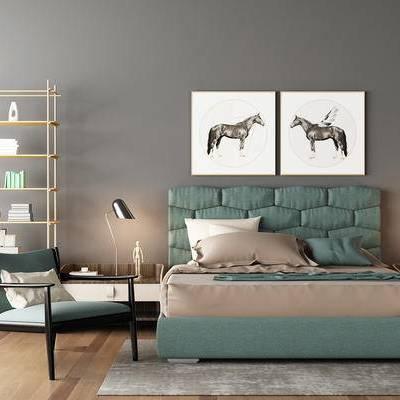 现代, 现代床, 现代床组合, 床, 装饰架, 椅子, 床头柜, 装饰画