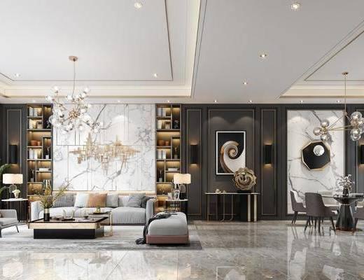 现代, 客厅, 沙发组合, 餐厅, 桌椅组合