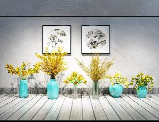 植物, 花瓶, 花卉, 现代花瓶组合