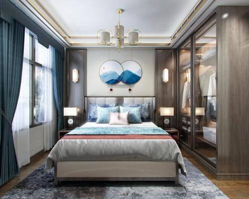 卧室, 床具组合, 衣柜服饰, 圆框画组合, 吊灯壁灯组合, 新中式