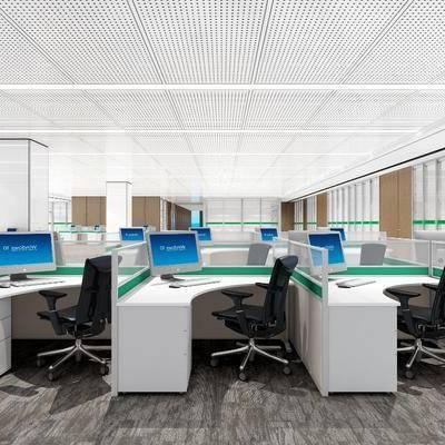 办公区, 现代, 办公桌, 办公椅, 单椅, 茶几, 植物, 盆栽
