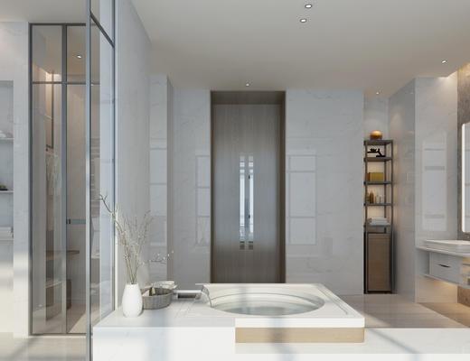 现代, 卫生间, 浴缸, 柜子