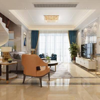 简欧客厅, 客厅, 简欧沙发, 沙发组合, 沙发茶几组合
