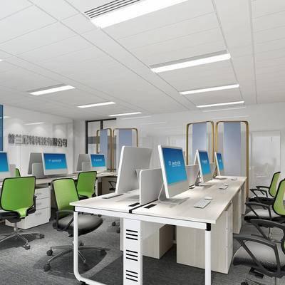 办公室, 现代, 办公桌, 办公椅, 电脑, 椅子, 桌子, 置物柜, 办公区