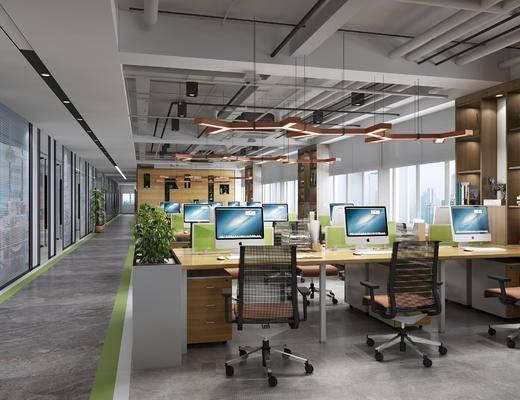 办公区, 植物, 办公椅, 办公桌, 吊灯, 装饰柜, 现代, 盆栽, 摆件, 装饰品, 书籍, 书本, 椅子