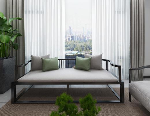 新中式, 客厅, 沙发茶几组合, 吊灯, 茶具组合, 植物盆栽