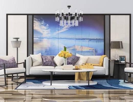 多人沙发, 现代沙发, 沙发组合, 吊灯, 茶几, 落地灯