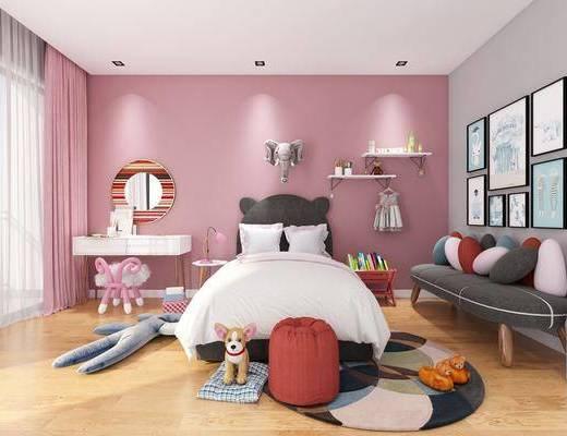 双人床, 多人沙发, 书桌, 墙饰, 沙发脚踏, 玩具, 摆件, 装饰画, 挂画, 凳子, 现代