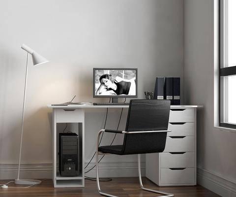 桌椅组合, 书桌, 电脑桌, 单人椅, 落地灯, 电脑椅, 电脑, 现代