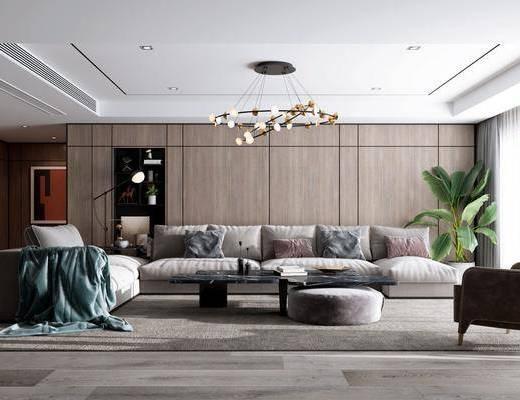 沙发组合, 沙发茶几组合, 盆栽, 绿植植物, 装饰柜, 摆件组合, 现代