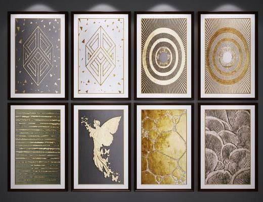 装饰挂画, 艺术画, 抽象画, 金箔挂画, 端景画, 后现代
