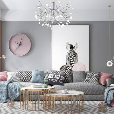 北歐客廳, 北歐吊燈, 沙發組合, 掛鐘, 置物架, 擺件, 電視柜, 茶幾