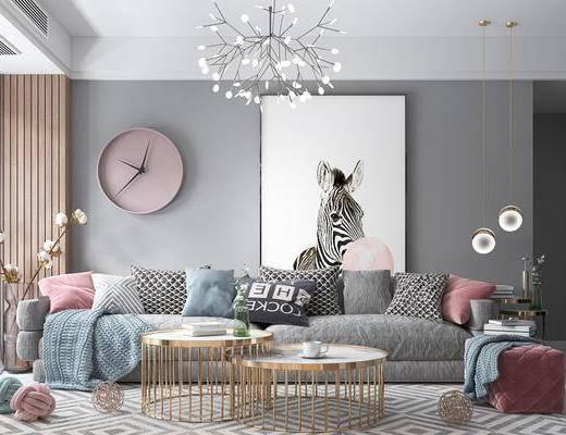 北欧客厅, 北欧吊灯, 沙发组合, 挂钟, 置物架, 摆件, 电视柜, 茶几