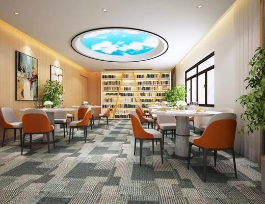 图书馆, 桌椅组合, 书柜, 书籍, 装饰画, 植物