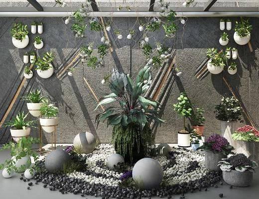 植物墙, 植物造景, 景观, 石头, 植物, 吊灯, 盆栽, 现代
