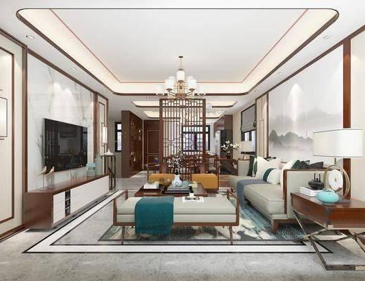 新中式客厅, 客厅, 客餐厅, 中式客厅