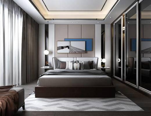 双人床, 装饰画, 衣柜, 床头柜, 单椅