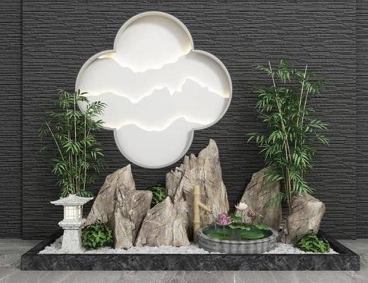 园艺小品, 假山水景, 墙饰, 新中式