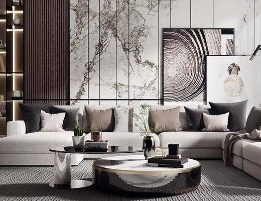 沙发组合, 多人沙发, 转角沙发, 茶几, 装饰画, 挂画, 落地灯, 单人沙发, 边几, 台灯, 摆件, 装饰品, 陈设品, 现代