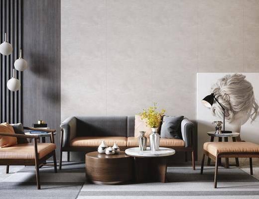 沙发组合, 茶几, 吊灯, 单椅, 摆件组合, 装饰画